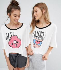 8 Food-Themed Pajamas for Sweet (and Savory) Dreams — Shopping Bff Shirts, Cute Pjs, Cute Pajamas, Teen Pjs, Pijamas Women, Beige T Shirts, Best Friend Outfits, Best Friend Things, Cute Sleepwear