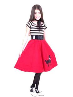 50S Poodle Dress Red Kids Costume