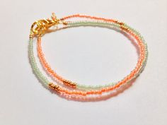 Mint Gold Coral tricolor stacking stack bracelet by JuneandPenny