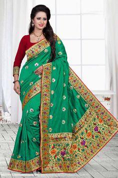 $79.82 Sea Green Silk Wedding Saree 57078