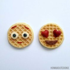 Fruit and Nutella toppings make funny emoji waffles.