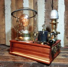 One-of-a-kind Upcycled Repurposed Vintage Cigar Stash Box Steampunk Inspired Art Lamp w/Edison Style Filament Light Bulb & Round Glass Globe. Has