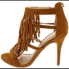 Fringe open toe heels These chestnut color heels feature a caged open toe upper, stiletto heel, and zipper back closure.  Approx heel heigh is 4.5 inches  Size 8 New, never worn Shoes Heels