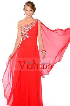 De un hombro con cuentas escote Princesa Hasta el suelo Apasionado gasa roja vestido de fiesta $ 139.99 VEPC1LQB7T - Vestido2015.com