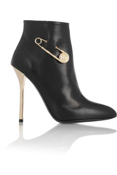 Versus | Safety pin-embellished leather ankle boots