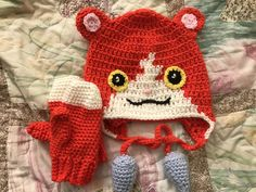 I couldn't find any examples of crocheted jibanyan from yo-kai watch hats, so here is a picture of one I made for my daughter.
