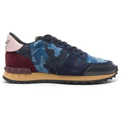 Valentino Runner Sneakers ($850) ❤ liked on Polyvore featuring shoes, sneakers, rubber sole shoes, valentino shoes, valentino sneakers and valentino trainers