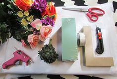 floral letter diy supplies