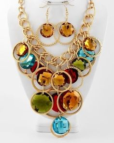 Chunky Gold Tone Circles Multi Color Cluster Statement Necklace Earring Set $44.00 Save 15% on this Set for Columbus Day!