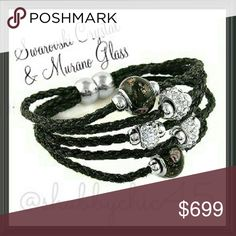 Beautiful Swarovski/Murano Bead Leather Bracelet Braided leather bracelet enriched with genuine Swarovski crystals and Murano glass beads, this bracelet is the perfect accessory from Boho to Urban Chic. Magnetic closure and 7.5 inch in length. Limited quantities available. MSRP is $89.   ??Smoke free home. No trades. Open to reasonable offers unless marked as firm. Happy Poshing!!?? Swarovski Jewelry Bracelets