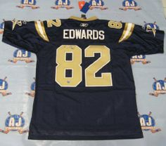 TERRENCE EDWARDS Winnipeg Blue Bombers SIGNED JERSEY . $284.05. This is an official licensed SIGNED Terrence Edwards Winnipeg Blue Bombers jersey. The jersey is brand new with all of the lettering and numbering professionally sewn on. The player has beautifully signed the number. To protect your investment, a Certificate Of Authenticity and tamper evident hologram from A.J. Sports World is included with your purchase.