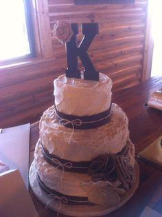 Rustic burlap wedding cake topper