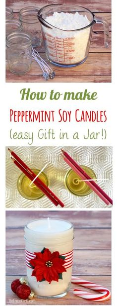 Diy Candles Ideas : How to Make Peppermint Soy Candles! EASY Gift in a Jar Idea from TheFrugalGirls Homemade Soy Candles, Easy Homemade Gifts, Homemade Christmas Gifts, Christmas Diy, Jewish Christmas, Easy Gifts To Make, Handmade Christmas, Mason Jar Candles, Mason Jar Crafts