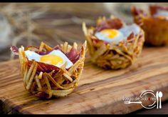 Nidos de patata con jamón