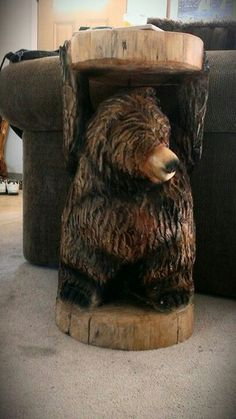Bear side table from BIGWOOD CHAINSAW CARVING.