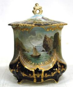 Antique RS Prussia Biscuit Jar Black Gold SHIP and Swan Scene Cracker Jar | eBay