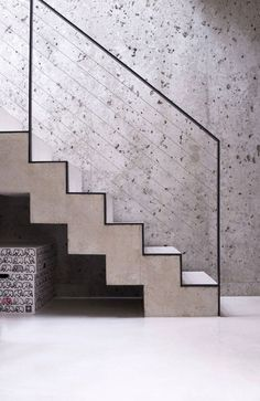 8 Amazing Modern Stairs modern stairs hardwood stairs ideas stai S. Exterior Handrail, Stair Handrail, Staircase Railings, Stairways, Banisters, Concrete Staircase, Hardwood Stairs, Concrete Wall, Railing Design