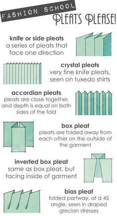 Pleats Please! Knife or side pleat. Crystal pleat. Accordian pleat. Box pleat. Inverted box pleat. More pleats...