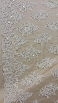 "Off White Bridal Spruce floral Lace Sequin Beaded Scallop Fabric Dresses 52/"" BTY"