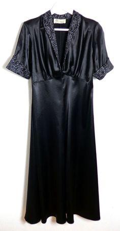 ☆ TARA STARLET Abendkleid Retro Style Gr. 40 UK 12 England 40er 50er Satin ☆