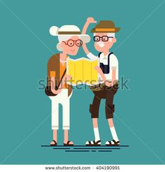 Cool vector flat character design on senior age travelers. Third age retired…