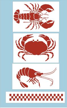 Crab Lobster and Shrimp Stencil with by SuperiorStencils on Etsy, $19.50