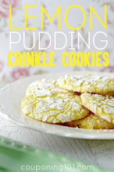 Lemon Pudding Crinkle Cookies - soft and chewy on the inside, crinkly and sugared on the outside. So good!
