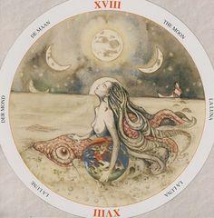 The Moon XVIII - De Maan - Der Mond - La Lune - La Luna (Circle of Life Tarot)