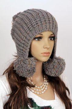 Громоздкая женщина ручной работы вязаная шапка одежда шапка