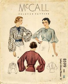 The 1930s saw a wonderful array of women's blouses which opened at the side. You can see how just a blouse and a skirt and you are formally dressed for work. McCall 8599 : Ladies' & Misses' Blouse || circa 1930s