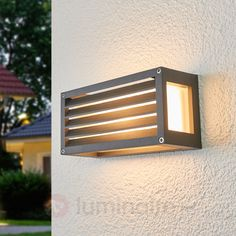 Applies outside 'aurelien' aluminum - lampenwelt Outdoor Wall Lamps, Outdoor Walls, Fluorescent Lamp, Led Lampe, Grey Paint, Stripes Design, Contemporary Architecture, Light Bulb, Wall Lights