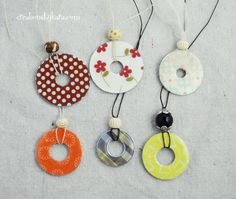 How to make custom necklaces using washers and printed paper. Easy and fun! Great for girls camp!