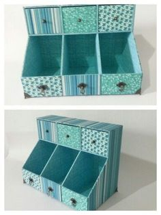 10 x 10 cardboard box covered with fabric.never be without storage again. Cardboard Organizer, Cardboard Box Crafts, Cardboard Furniture, Diy Furniture, Craft Storage, Storage Boxes, Carton Diy, Diy Karton, Diy Rangement