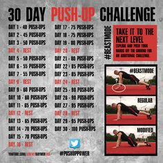 30 Day Push-Up Challenge! Let's do this! Gotta get my fitness and exercise in... because strong is the new sexy! #workout