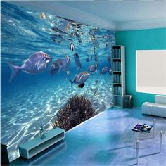 Custom photo wallpaper 3D stereoscopic underwater world of marine fish living  children's room TV background  3d mural wallpaper-in Wallpapers from Home & Garden on Aliexpress.com | Alibaba Group