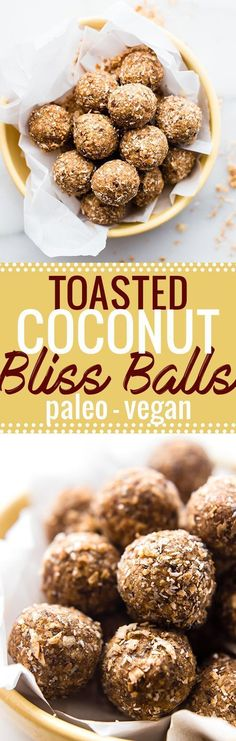 Cinnamon Toasted Coconut Bliss balls. A quick sweet and salty snack ball recipe made with cinnamon toasted coconut, dates, cashews, and maple! The perfect bite size healthy treat that's Paleo and Vega