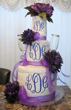 Monogrammed towel cake