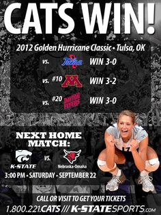 Congratulations to the K-State Volleyball team for winning the 2012 Golden Hurricane Classic! The Cats are now 12-0 on the season and ranked 11th nationally!