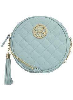 Aqua circular quilt crossbody bag. Love the color!