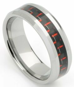 Men's Tungsten Ring/ Wedding Band, Red Carbon Fiber, Sizes 7 - 12 By Men's Collections (rg6) Mens Collections. $13.95. Black and Red Carbon Fiber Inlay. Tungsten Ring/Band. 8mm wide, Weight- 14 grams. Durable. Comfort it