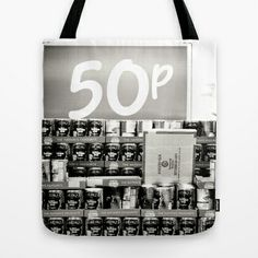 50 P! Tote Bag by Anja Hebrank - $22.00 #tin #tins #can #cans #heinz #beans #bohnen #shopping #food #kitchen #küche #essen #lebensmittel #supermarket #urban #decay #old #vintage #dresden #germany #deutschland #streetphotography #canon #present #decoration #kitchen #interior #bnw #blackwhite #travelling #travelphotography #design #individual #society6 #print #art #artprint #interior #decoration #design #bag #tasche #totebag #beutel #jutebeutel #hipster #accessory #accessories