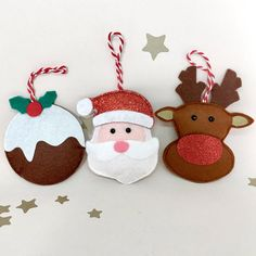 These gorgeous felt characters will add the perfect finishing touch to your Christmas Tree! They all have a lovely bit of sparkle...Santas red glitter hat, the Reindeers red glitter nose and the Christmas Puddings white glitter cream!* They are all handmade in premium wool felt &