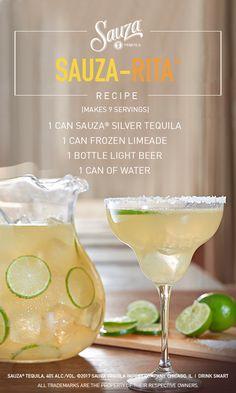 Celebrate the 4th of July with the margarita that's stood the test of time. The classic Sauza-Rita® combines limes, beer, and Sauza® Silver Tequila, making for the mother of all margaritas.  Directions: Pour 1 can of limeade and 1 bottle of beer into a pitcher with ice. Fill limeade can with Sauza® Silver and pour into pitcher. Finally, add a can of water, stir and enjoy.