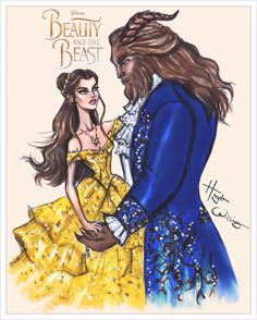 Tale as old as time. Beauty and the Beast; Disney by Hayden Williams Hayden Williams, Disney Princess Fashion, Disney Style, Film Disney, Disney Art, Disney Couples, Fashion Design Drawings, Fashion Sketches, Fashion Illustrations