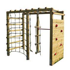 Klettergerüst Holz mit Kletterwand Premium