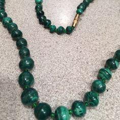 Ladies green malachite necklace Ladies green malachite necklace worn but so beautiful Malachite Jewelry Necklaces