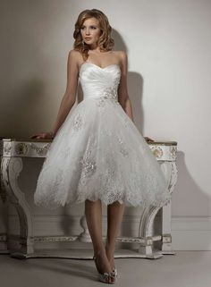 short lace wedding gown, wonderful