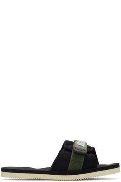 90c49eede1e5ea Nylon and neoprene slip-on sandals in  olive  green and black. Open