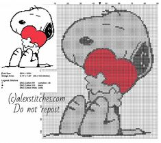 Snoopy with heart free cross stitch pattern small size