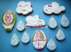 """Набор """"Дождик в летний день"""". Зонтик, воздушный шар, тучка, цвета и количество печенья на Ваш выбор, Херсон, Украина/"""